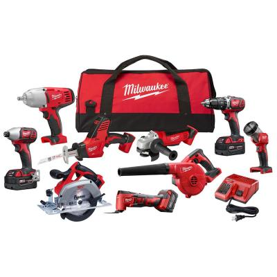 M18 18-Volt Lithium-Ion Cordless Combo Tool Kit (9-Tool) with (3) 4.0 Ah Batteries, Charger and Tool Bag
