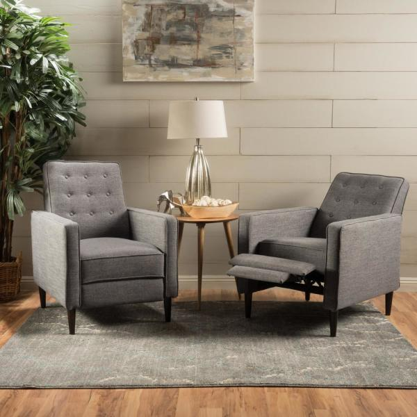 Noble House Mervynn Mid-Century Modern Button Back Gray Fabric Recliners (Set of 2)