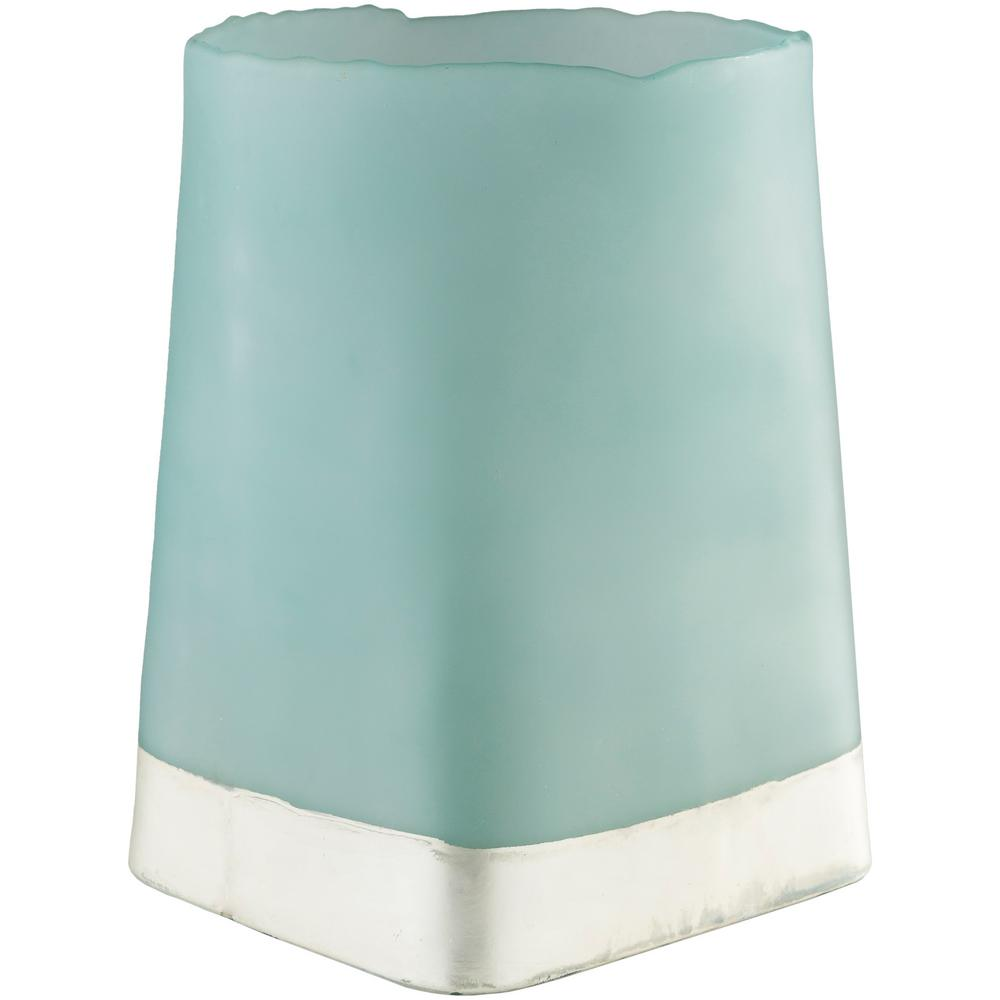 Omss 14.75 in. Teal Glass Candle Holder