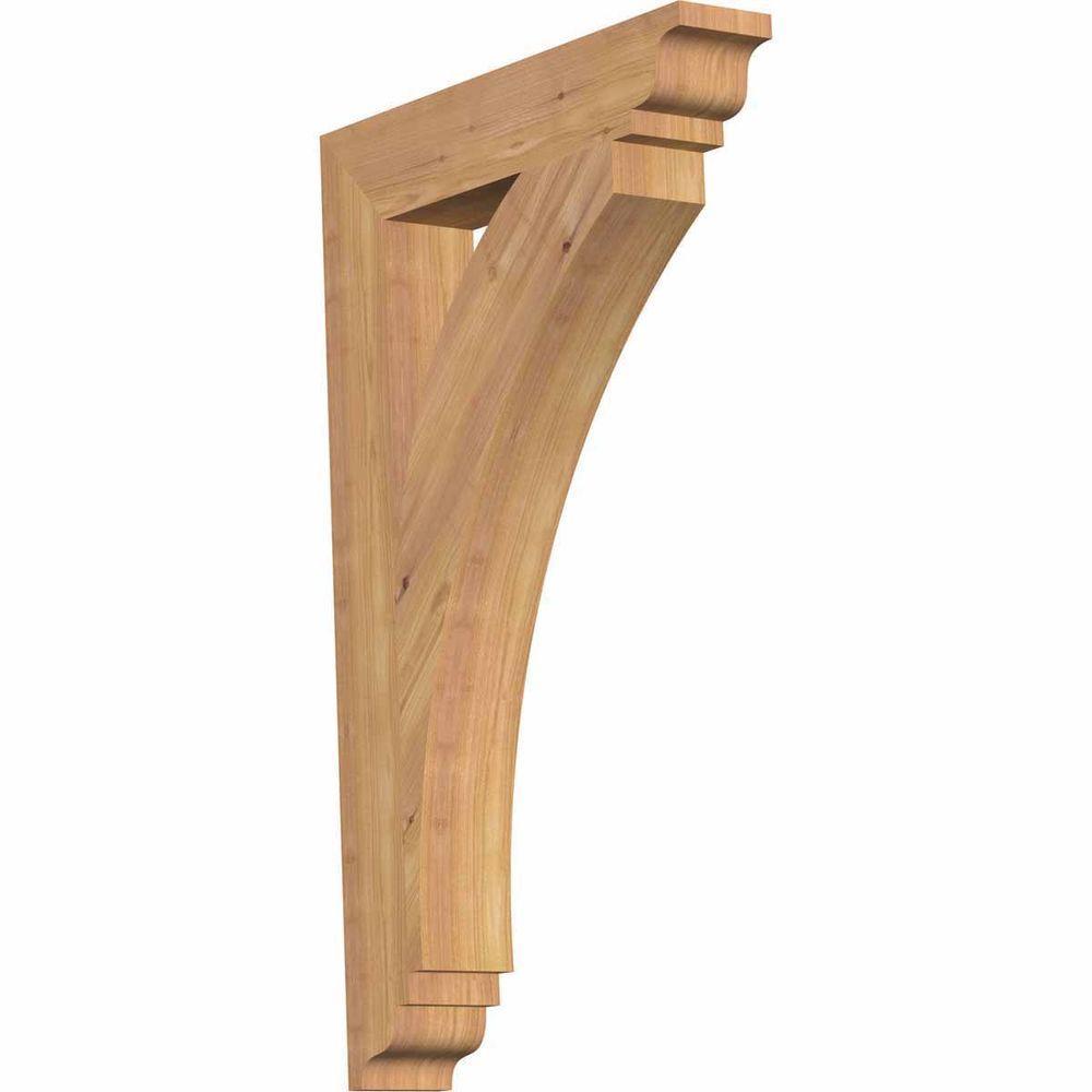 Ekena Millwork 3.5 in. x 32 in. x 20 in. Western Red Cedar Thorton Traditional Smooth Bracket
