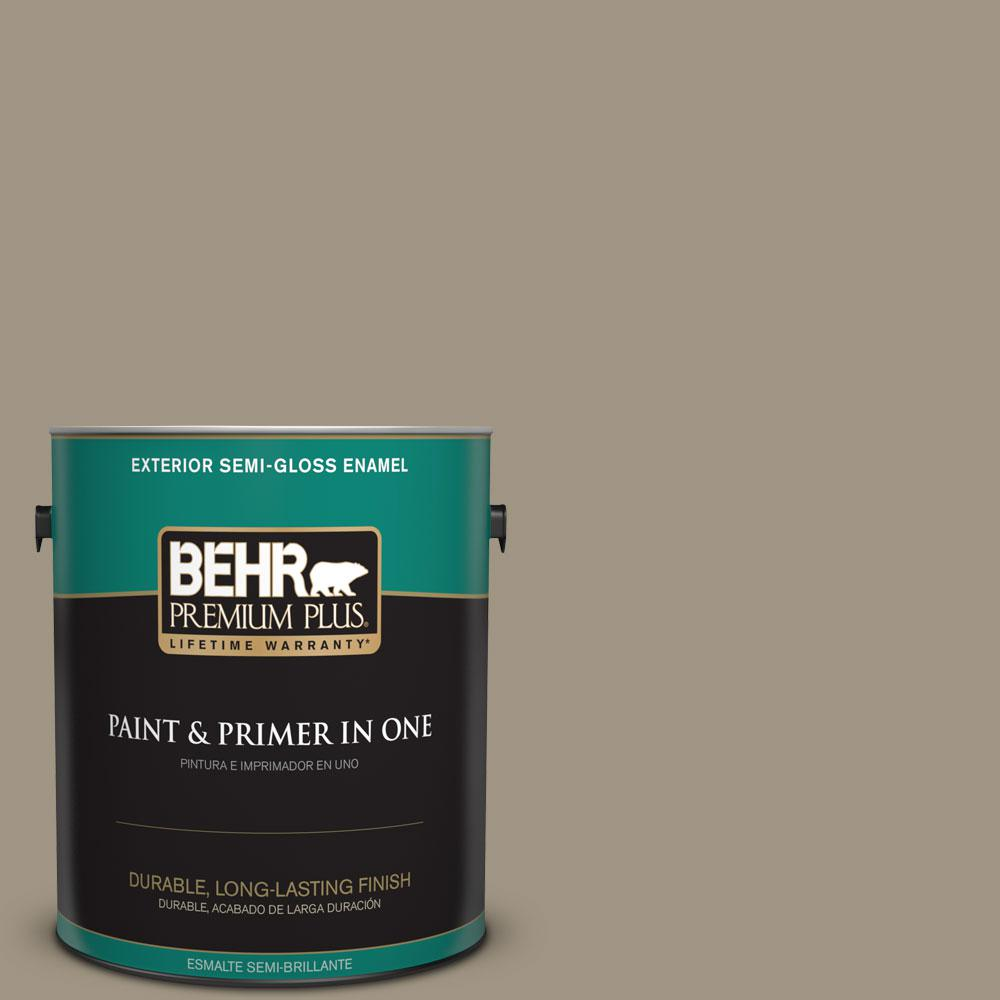 1-gal. #BNC-24 Shadow Taupe Semi-Gloss Enamel Exterior Paint