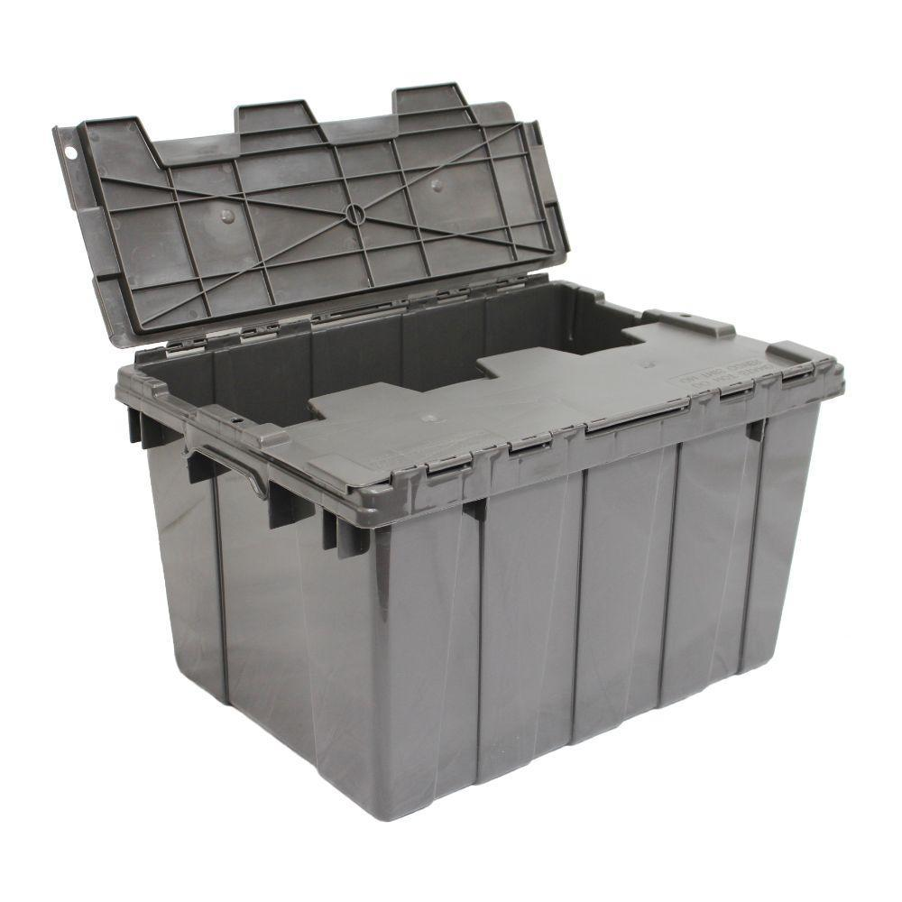 12 Gal. Heavy Duty Flip-Top Storage Tote in Grey