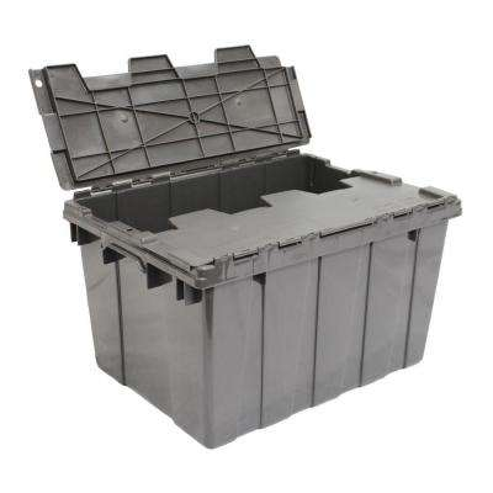 12 Gal. Heavy Duty Flip-Top Storage Tote in Grey