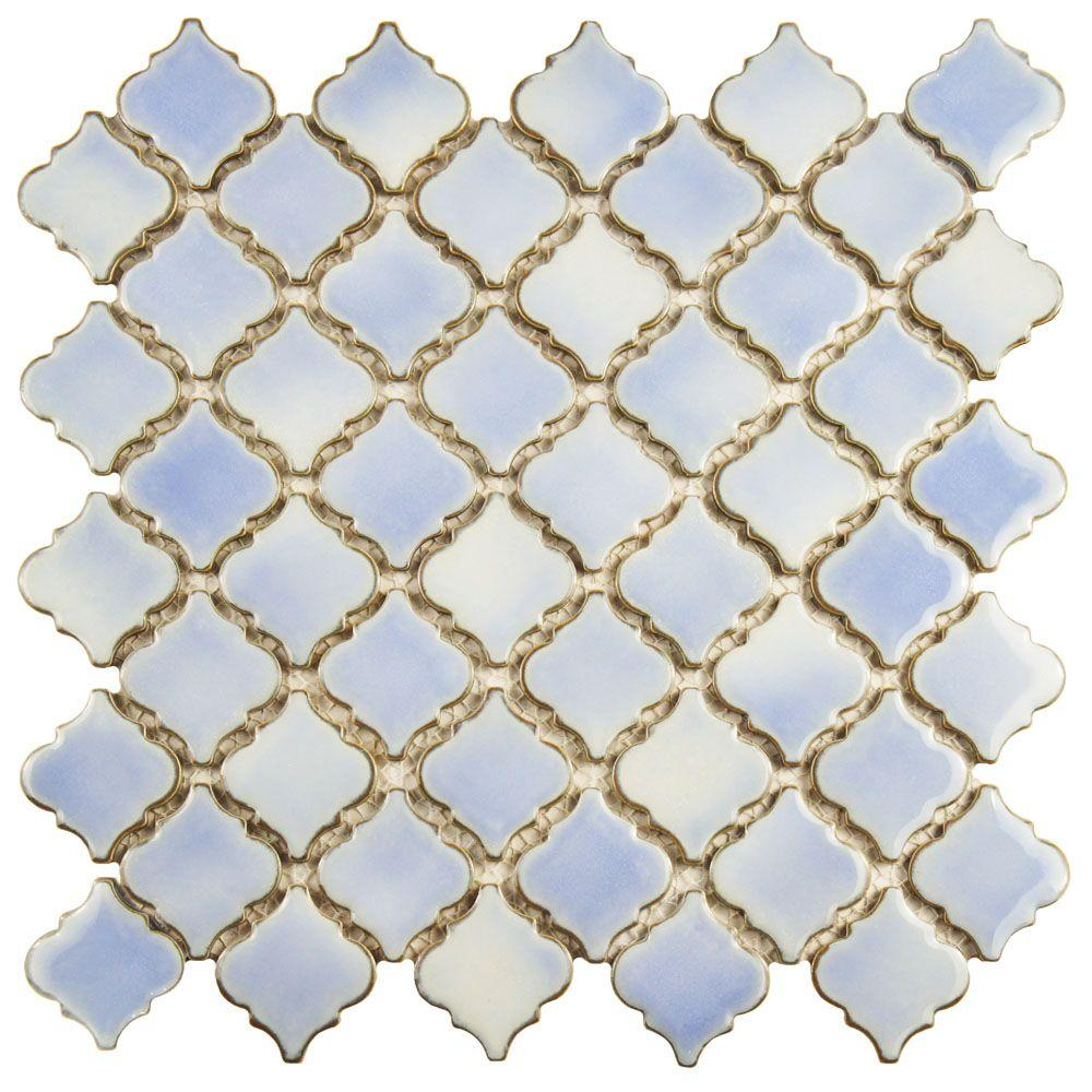 merola tile hudson tangier frost blue in x in x 5 mm porcelain mosaic the home depot