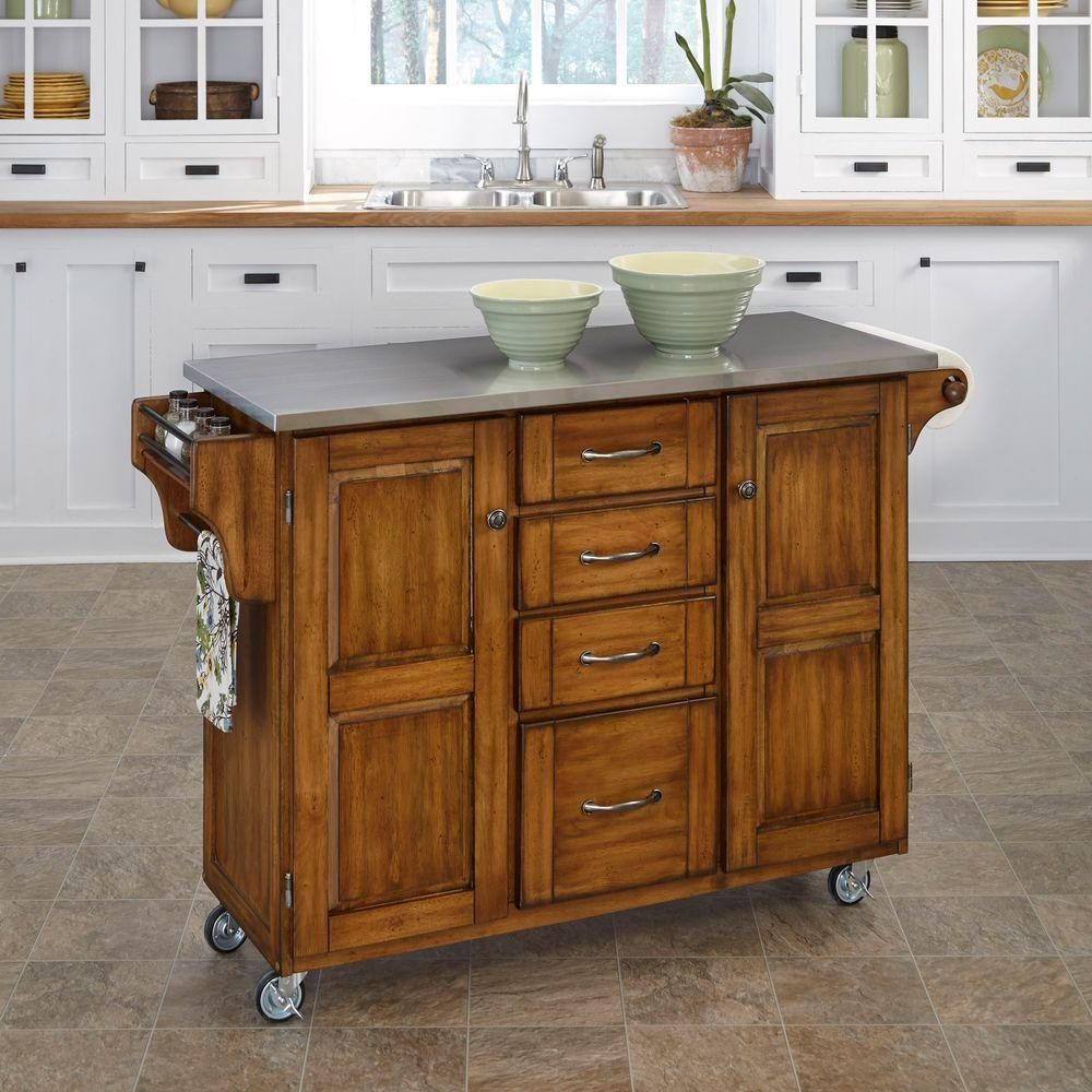 Merveilleux Create A Cart Warm Oak Kitchen Cart With Stainless Top