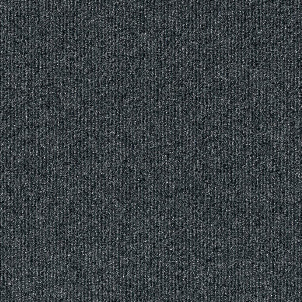 Foss Premium Self-Stick Ribbed Gunmetal Texture 18 in. x 18 in. Carpet Tile (16 Tiles/Case)