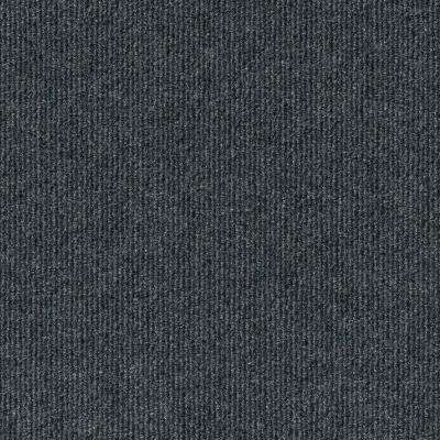 Premium Self-Stick Ribbed Gunmetal Texture 18 in. x 18 in. Carpet Tile