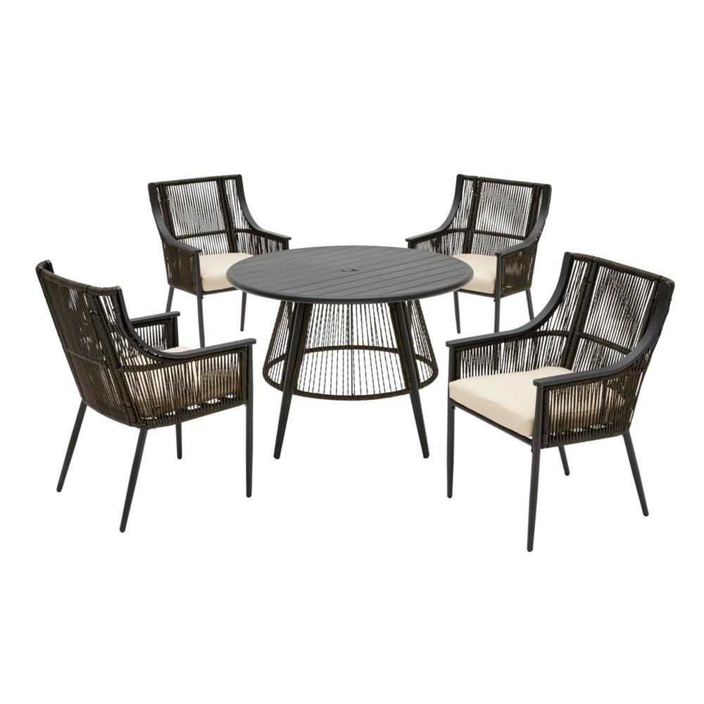 Bayhurst 5-Piece Black Wicker Outdoor Patio Dining Set with Sunbrella Beige Tan Cushions
