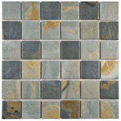 Ardesia Slate 11-5/8 in. x 11-5/8 in. x 6 mm Porcelain Mosaic Tile