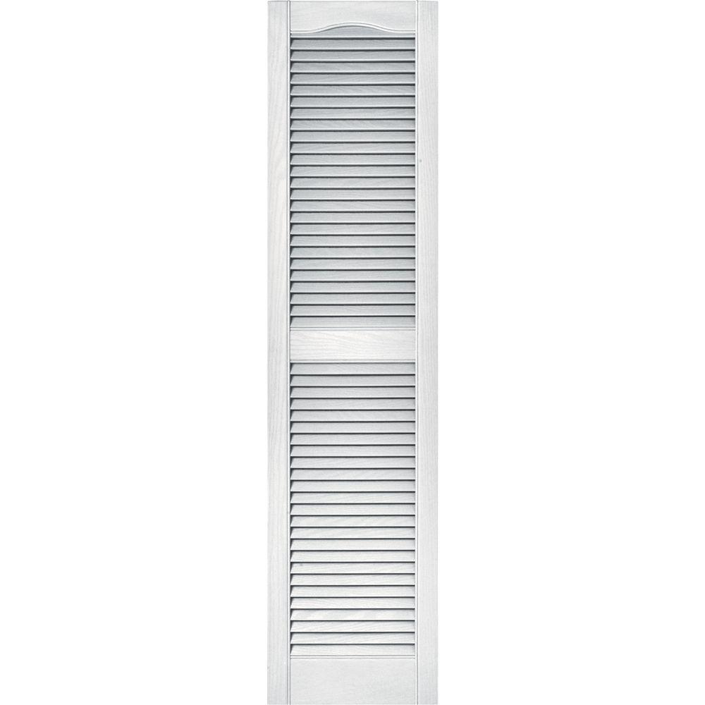 Builders Edge 15 in. x 60 in. Louvered Vinyl Exterior Shutters Pair in #001 White