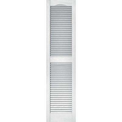 15 in. x 60 in. Louvered Vinyl Exterior Shutters Pair in #001 White