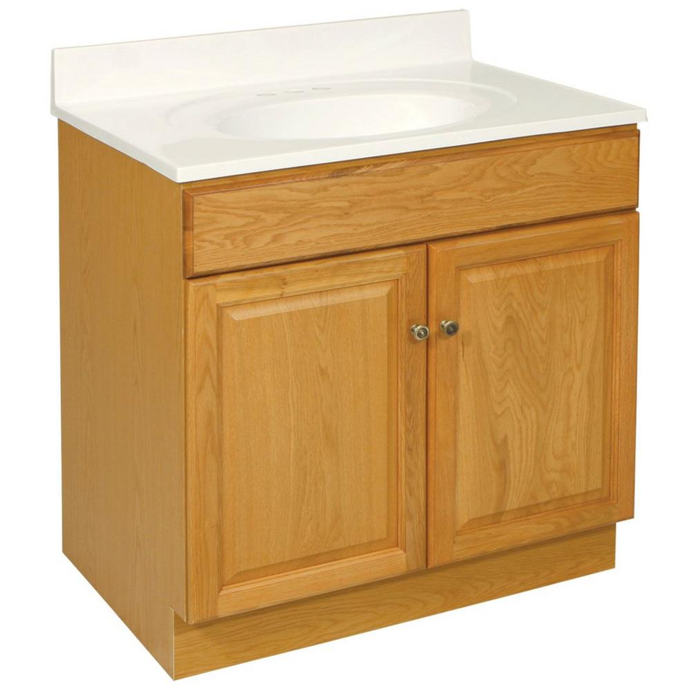 Design House Claremont 30 in. W x 18 in. D Unassembled Vanity Cabinet Only in Nutmeg Oak