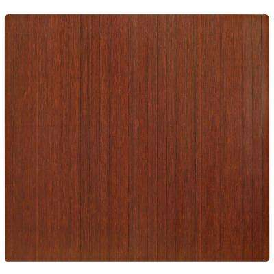 Standard Dark Brown Mahogany 48 in. x 52 in. Bamboo Roll-Up Office Chair Mat without Lip