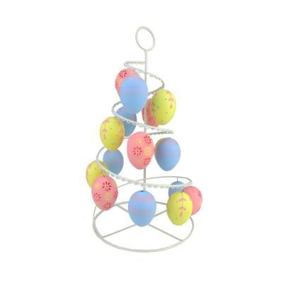 14.25 in. Pastel Pink, Blue and Yellow Floral Cut-Out Spring Easter Egg Tree