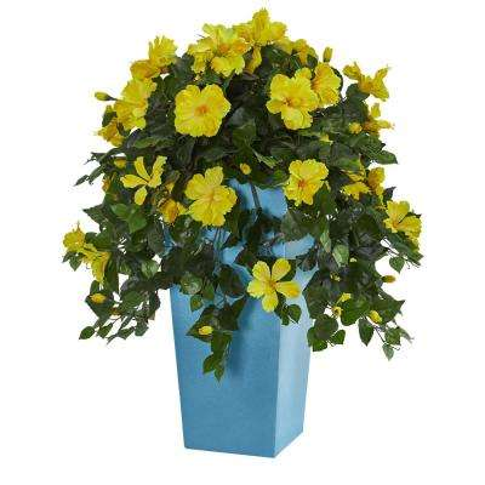 31 in. Indoor Hibiscus Artificial Plant in Turquoise Tower Vase