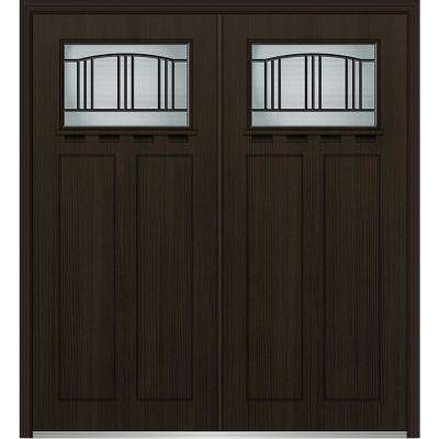 72 in. x 80 in. Madison Right-Hand Inswing 1/4-Lite Decorative Stained Fiberglass Fir Prehung Front Door with Shelf