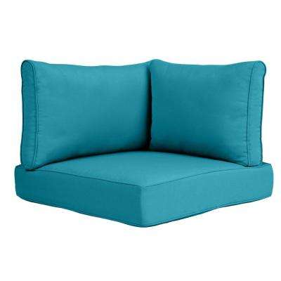 Commercial Grade Left Arm, Right Arm, or Corner Outdoor Sectional Chair Cushion in Sunbrella Canvas Teal