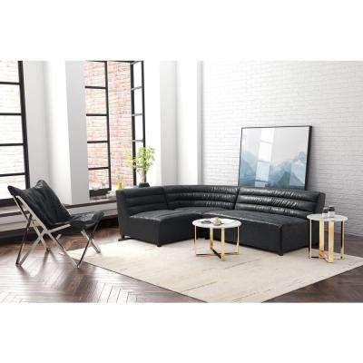 Soho Black Leatherette Loveseat
