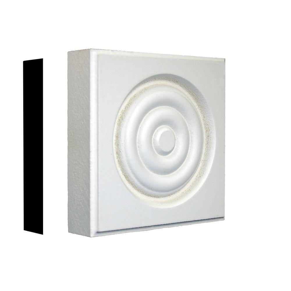 1-1/8 in. x 4-3/8 in. x 4-3/8 in. Primed MDF Rosette Corner Block Moulding