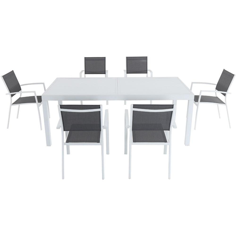 Awesome Cambridge Palmero 7 Piece Aluminum Outdoor Dining Set With 6 Sling Chairs In Gray White 40 In X 118 In Expandable Dining Table Home Interior And Landscaping Ologienasavecom