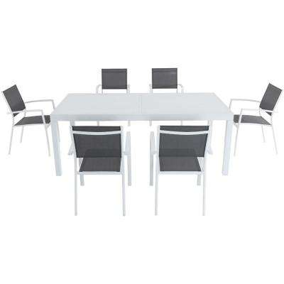Palmero 7-Piece Aluminum Outdoor Dining Set with 6-Sling Chairs in Gray/White 40 in. x 118 in. Expandable Dining Table