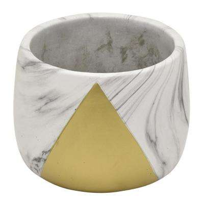 5 in. Flower Pot Marble Look Gold Gold