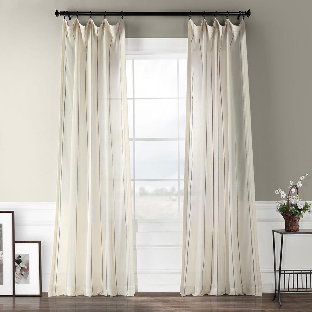 Aruba Gold Striped Linen Sheer Curtain in White - 50 in. W x 108 in. L