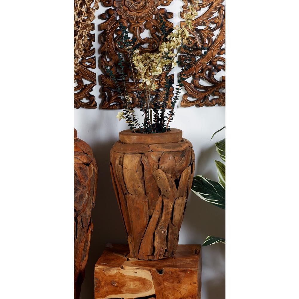 Brown Teak Wood Urn-Shaped Decorative Vase