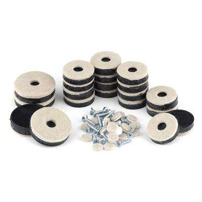 Assorted Beige and Black Felt Pads (20-Pack)
