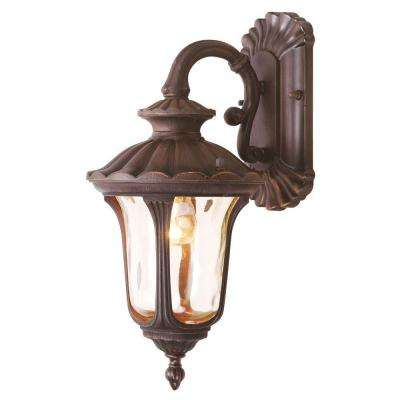 Providence 1-Light Imperial Bronze with Light Amber Water Glass Outdoor Wall Lantern