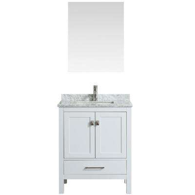 London 30 in. W x 18 in. D x 34 in. H Vanity in White with Carrera Marble Top in White with White Basin