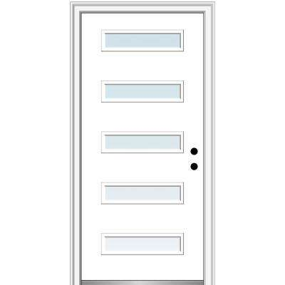 32 in. x 80 in. Davina Left-Hand Inswing 5-Lite Clear Low-E Modern Painted Steel Prehung Front Door on 4-9/16 in. Frame
