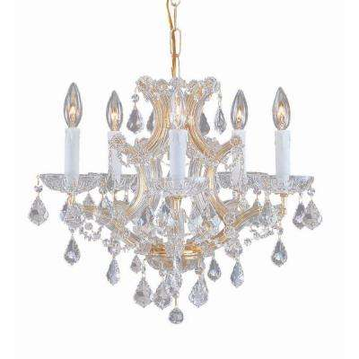 Maria Theresa 6-Light Clear Crystal Gold Mini Chandelier