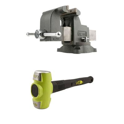 8 in. WS8 Steel Swivel Base Work Bench Vise with 4 lbs. Sledge Hammer