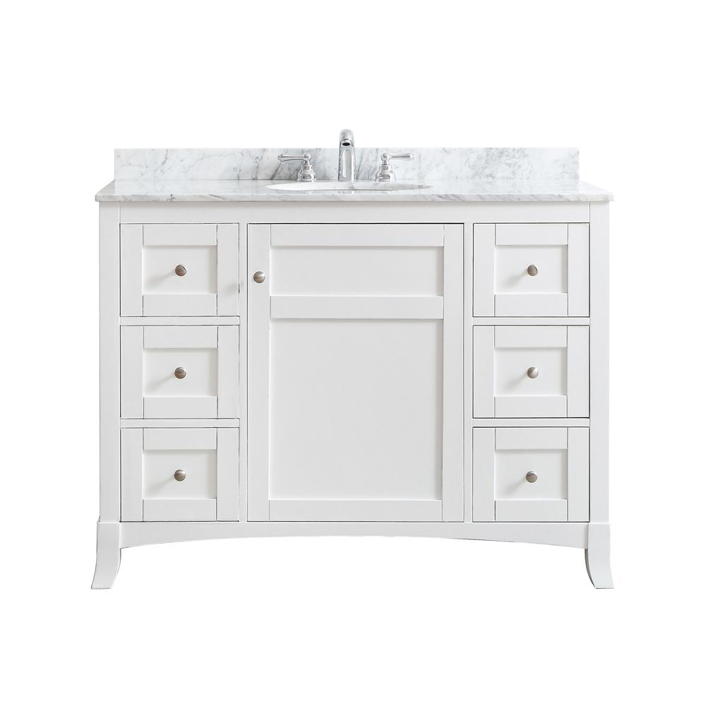 Vinnova Arezzo 48 in. W x 22 in. D x 36 in. H Vanity in White with Marble Vanity Top in Carrara White with White Basin