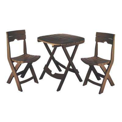 Quik-Fold Earth Brown 3-Piece Resin Plastic Outdoor Bistro Cafe Set