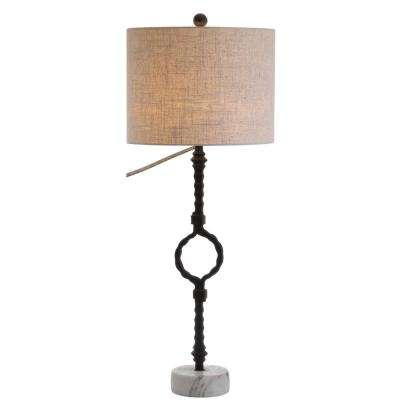 Mercer 32.5 in. Metal/Marble and Black/Gray Table Lamp