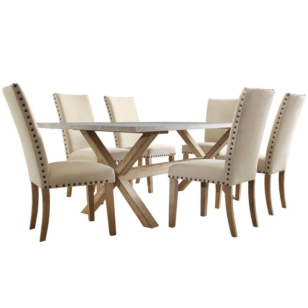 Upton 7 Piece Weathered Light Oak Dining Set