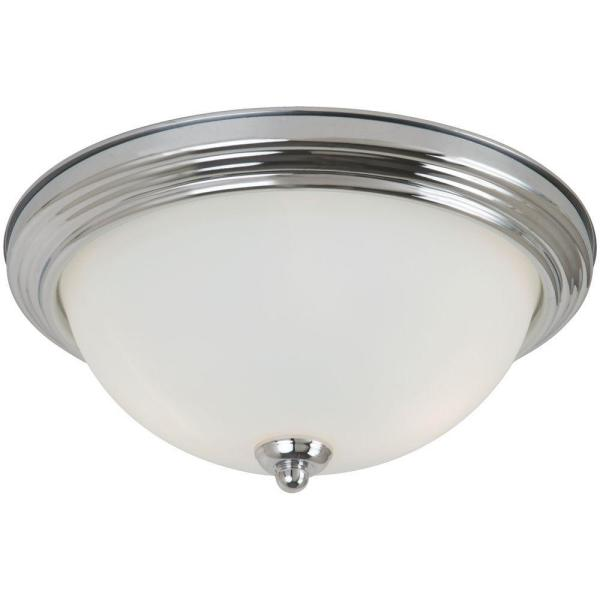 Geary 10.5 in. 1-Light Chrome Ceiling Flush Mount with Satin Etched Glass Shade