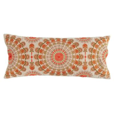 Orange, Pink and Green Embroidered Lumbar 14 in. x 32 in. Throw Pillow