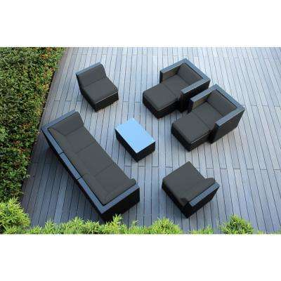 Black 10-Piece Wicker Patio Seating Set with Spuncrylic Gray Cushions