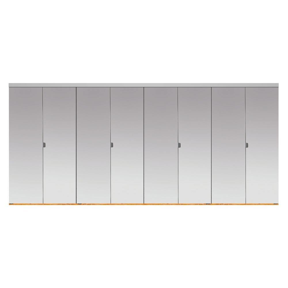Impact Plus 144 in. x 84 in. Beveled Edge Mirror Solid Core MDF Full-Lite Interior Closet Wood Bi-Fold Door with Chrome Trim
