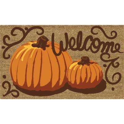 Painted Pumpkins 18 in. x 30 in. Coir Door Mat