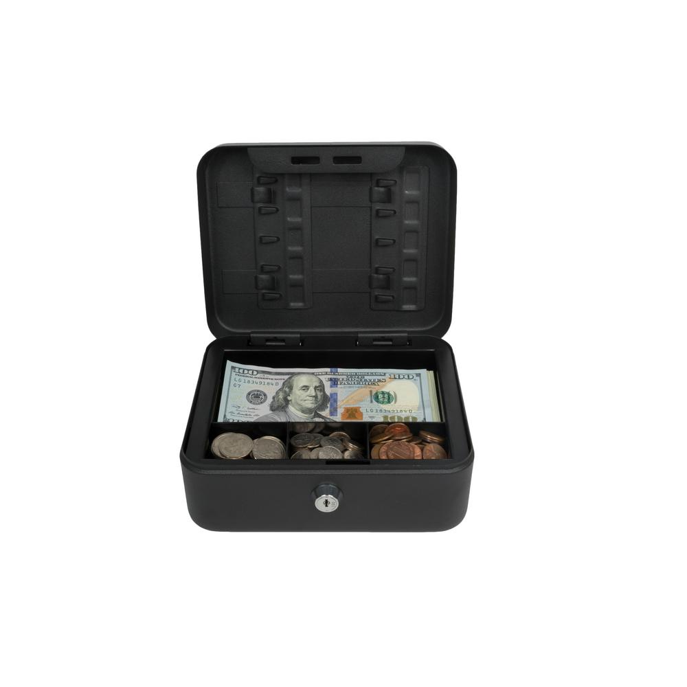 Compact Size Cash Box with Key Hooks,