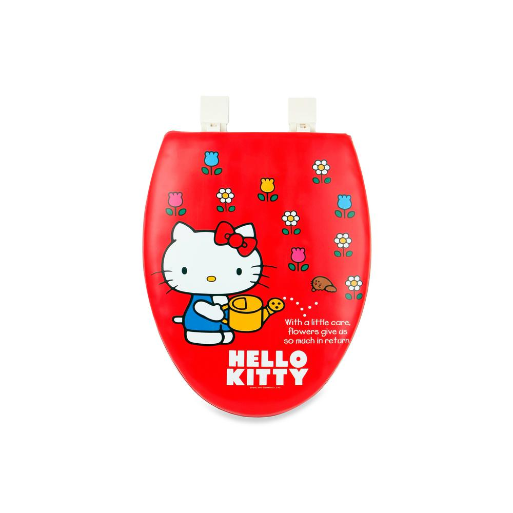 1956c752f0 Hello Kitty. HK Elongated Closed Front Toilet Seat in Red with Soft Padded  Red Gardening Watering Flowers Cover