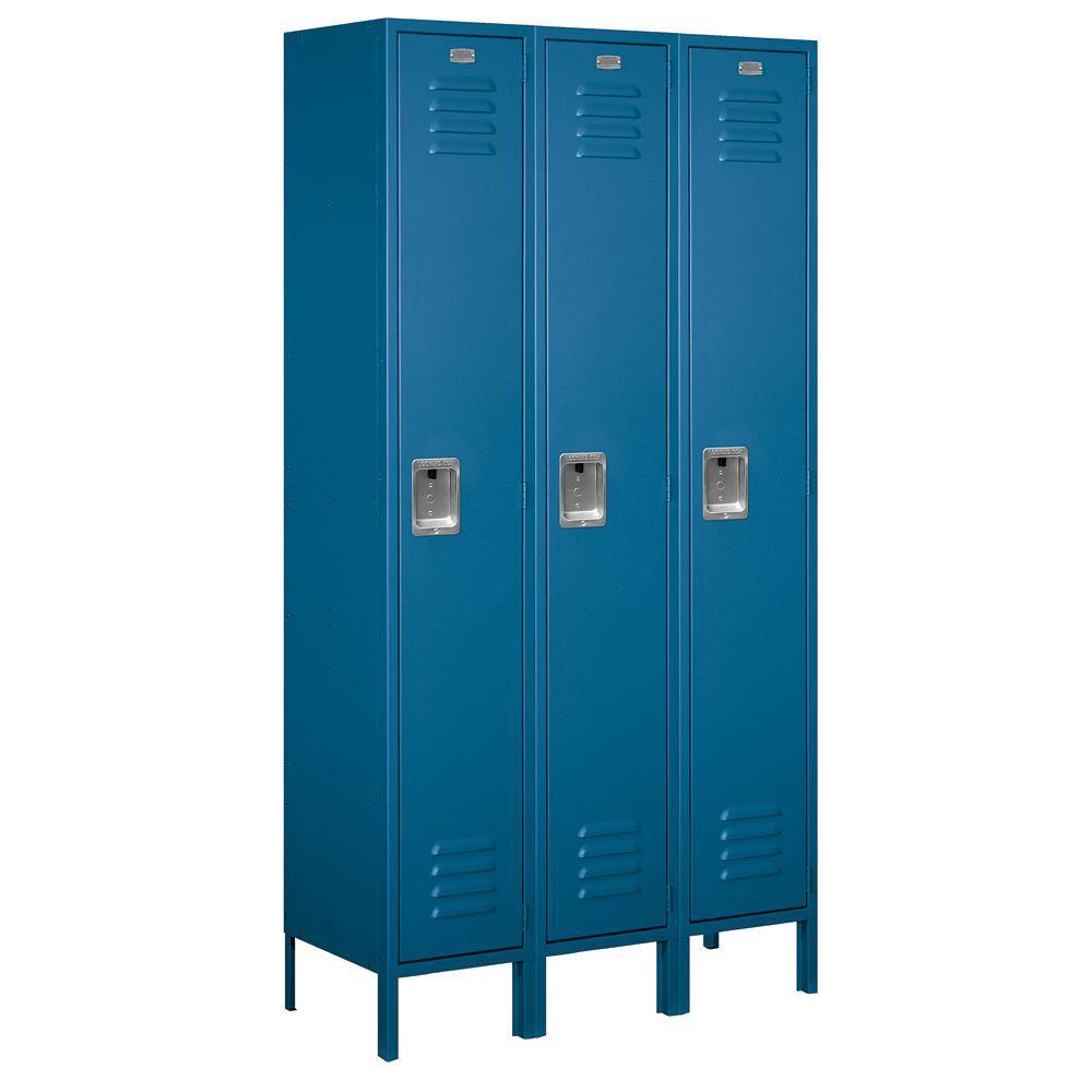 51000 Series 45 in. W x 78 in. H x 15 in. D Single Tier Extra Wide Metal Locker Unassembled in Blue
