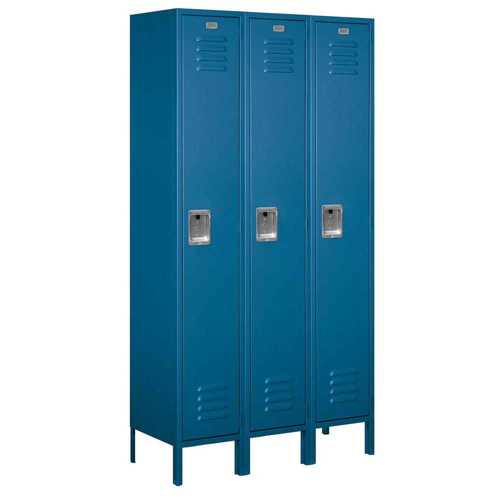 Salsbury Industries 51000 Series 45 in. W x 78 in. H x 15 in. D Single Tier Extra Wide Metal Locker Unassembled in Blue