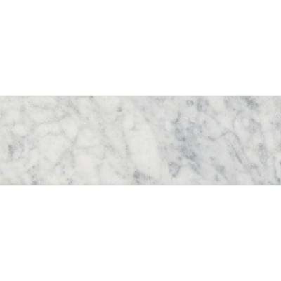 Carrara White 4 in. x 12 in. Polished Marble Floor and Wall Tile (5 sq. ft. / case)