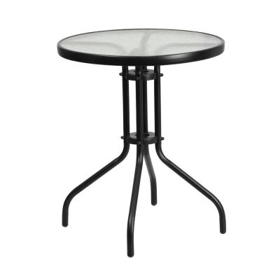 Clear/Black Round Metal Outdoor Bistro Table