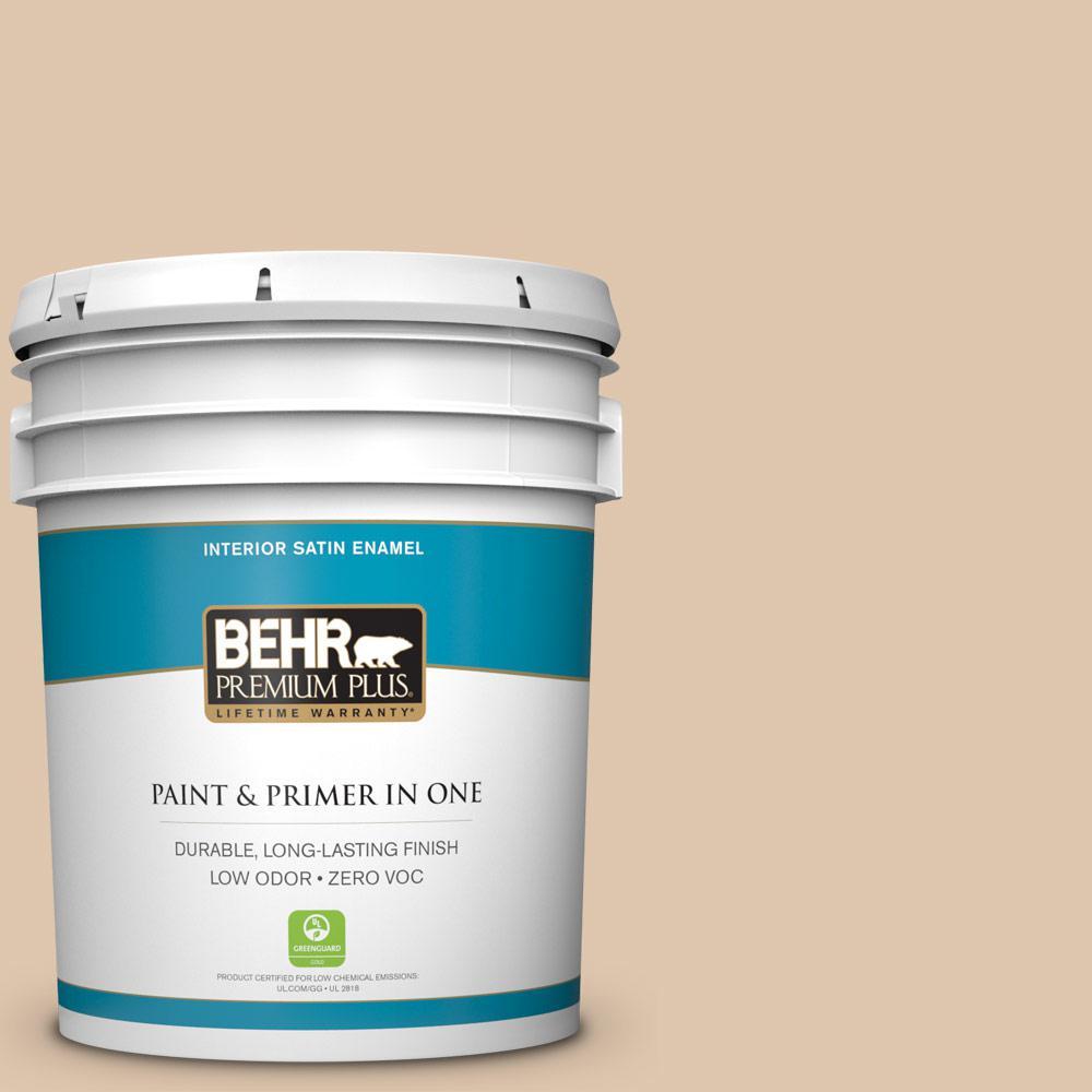BEHR Premium Plus 5 gal. #N260-2 Almond Latte Satin Enamel Zero VOC Interior Paint and Primer in One